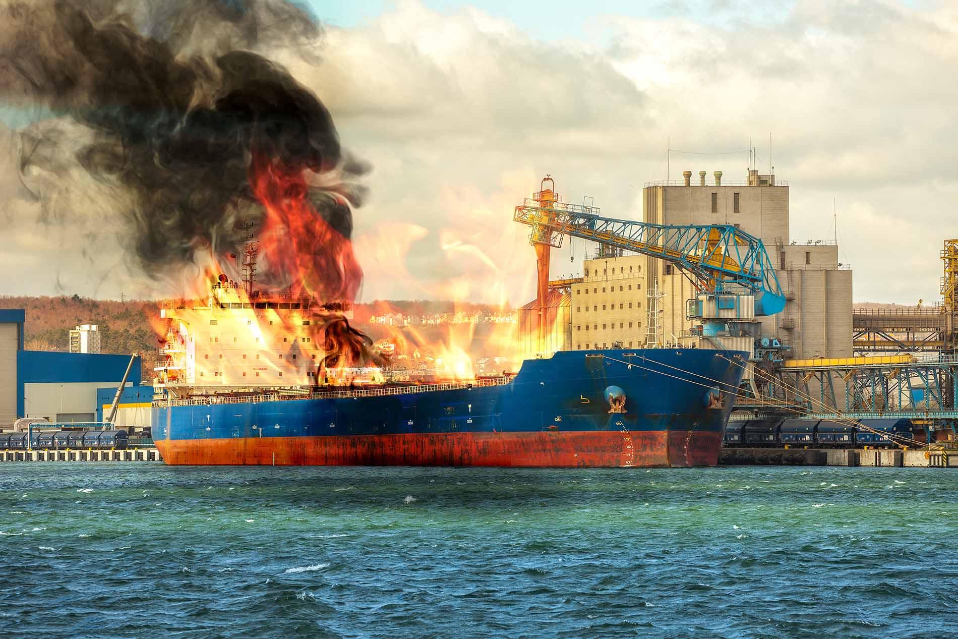 Ship on fire