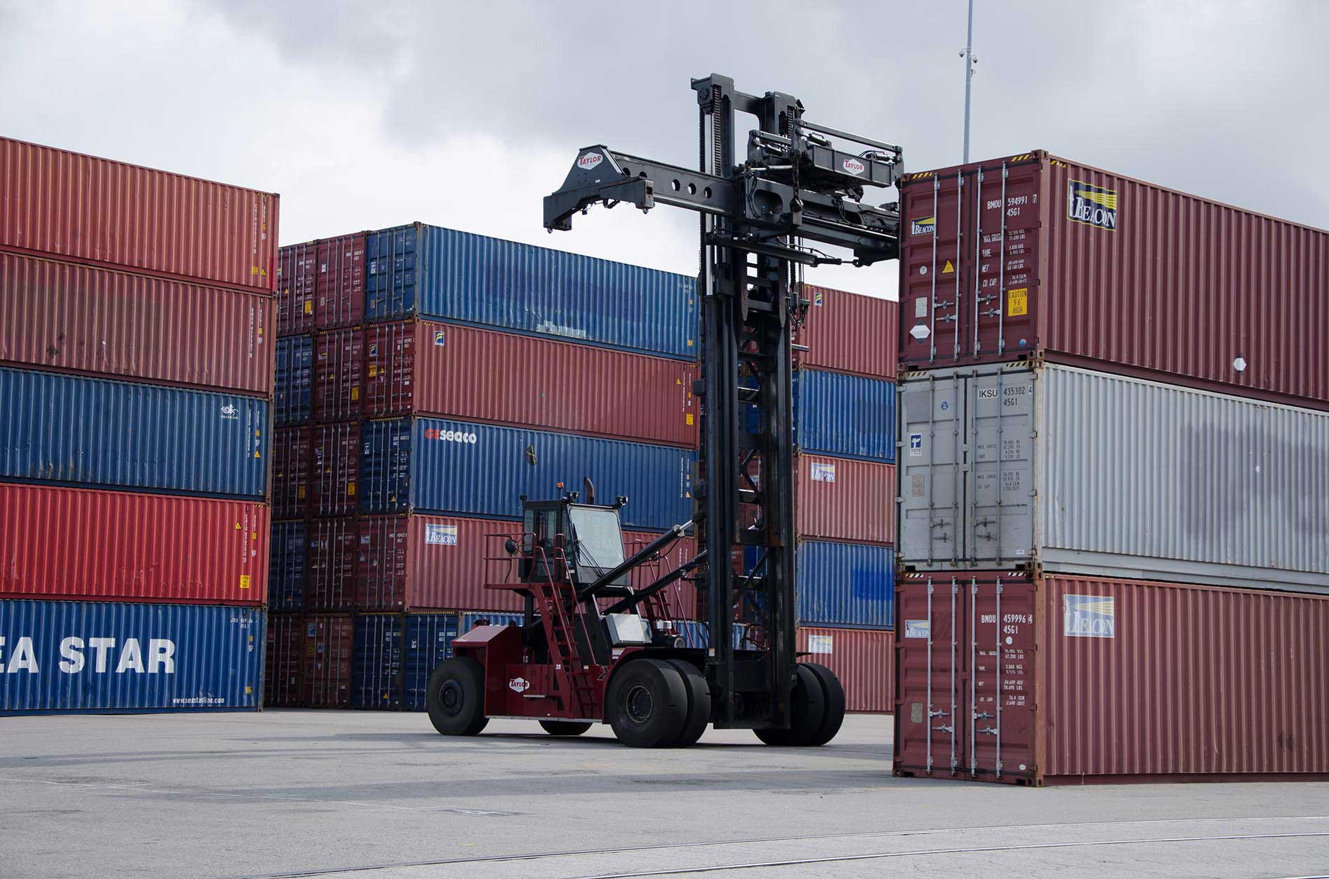 Crane and cargo containers