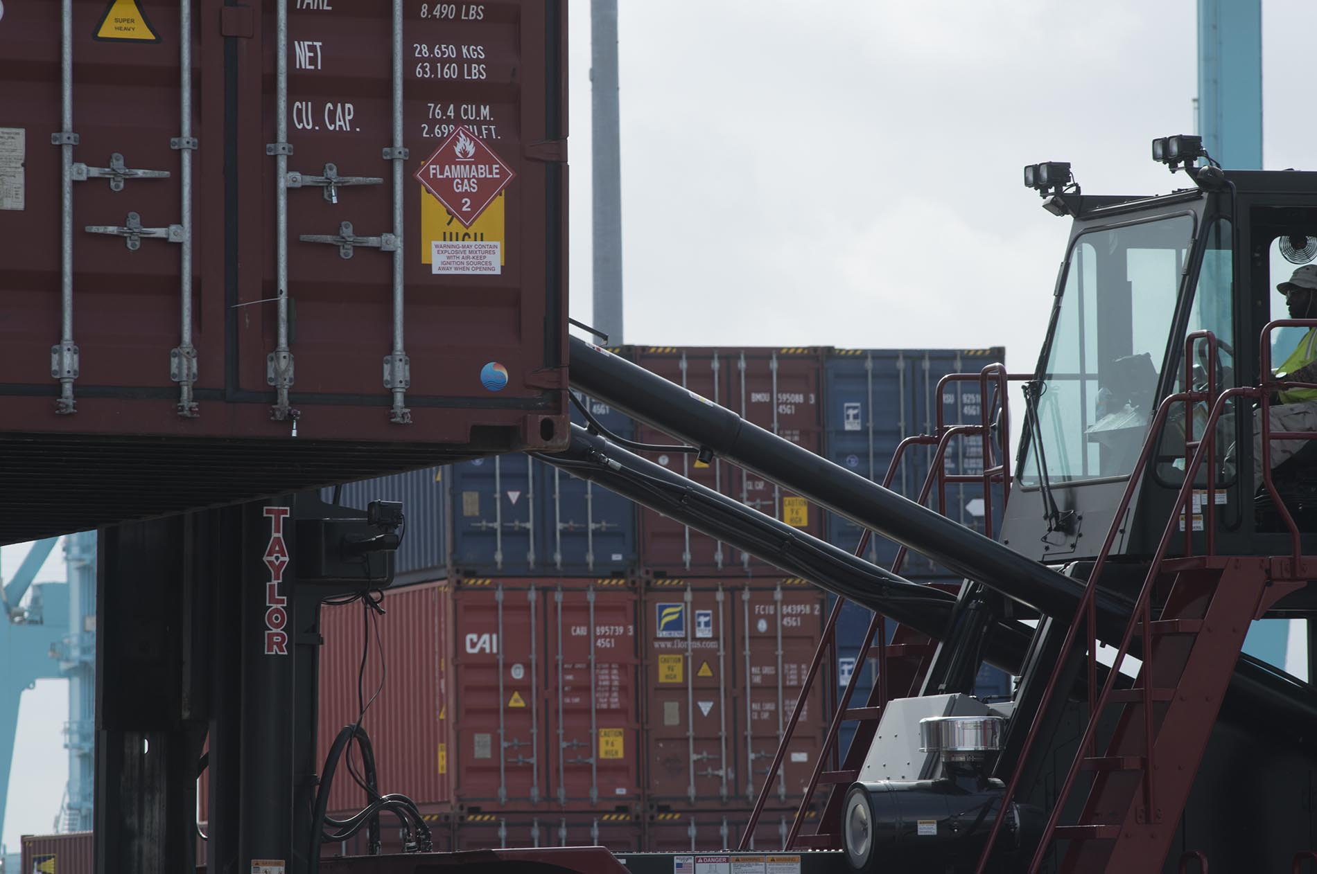 Containers on fork lift