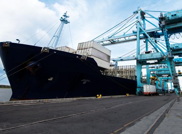 Ship at dock large cranes