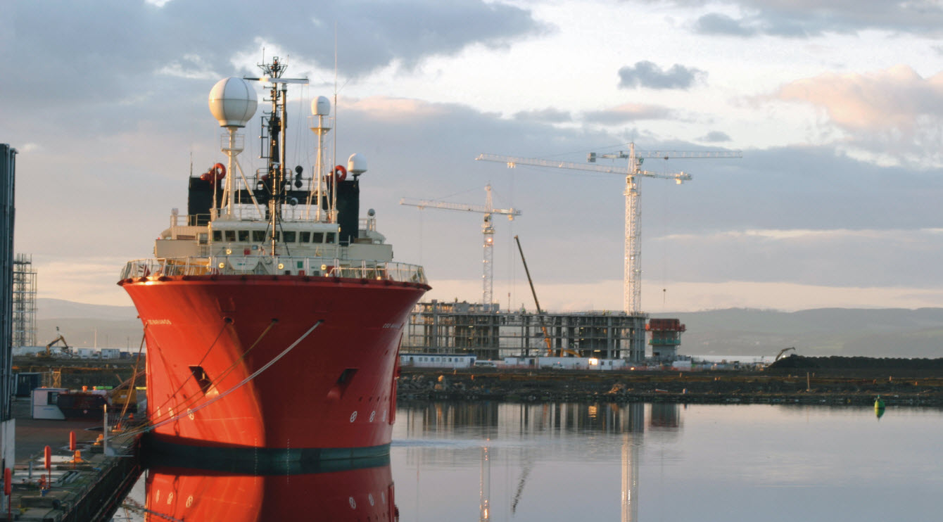 Ship at dock sunset