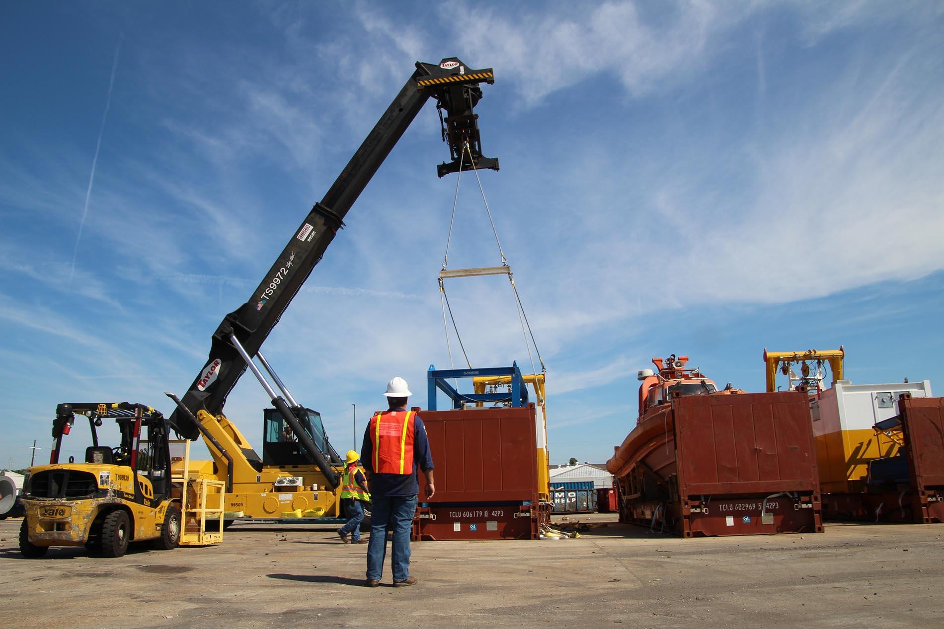 Large cargo on crane