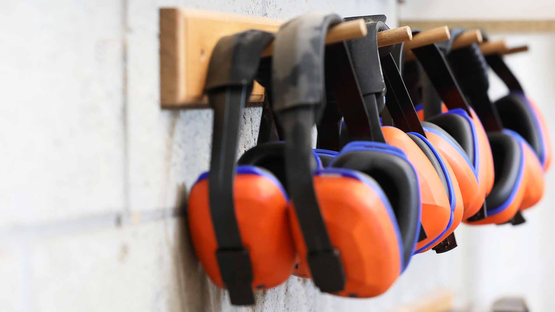 Row of ear protection head phones
