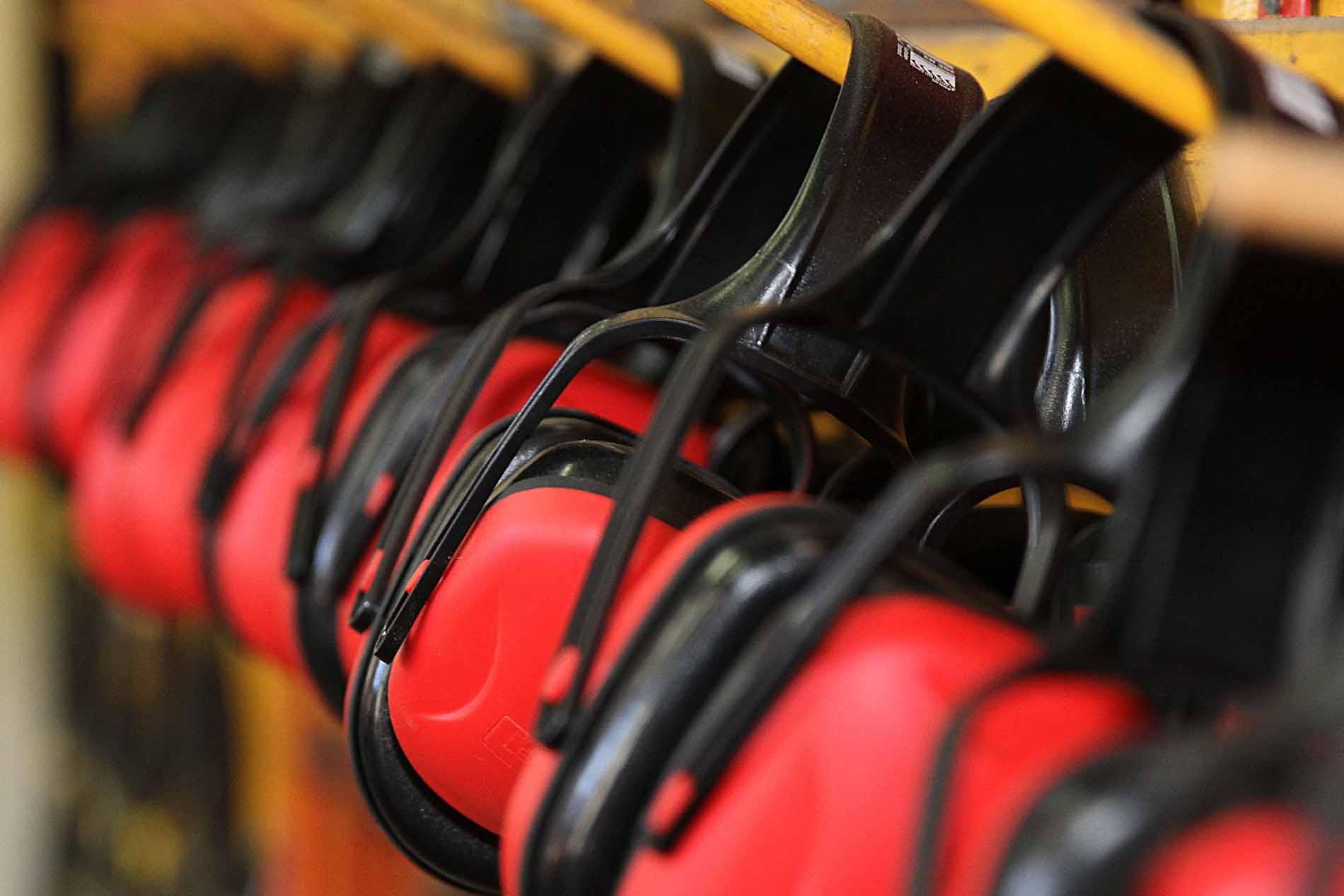 Row of protective head phones