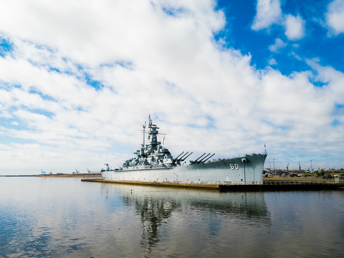 View of the USS Alabama, an old battleship turned museum located in Mobile, Alabama.